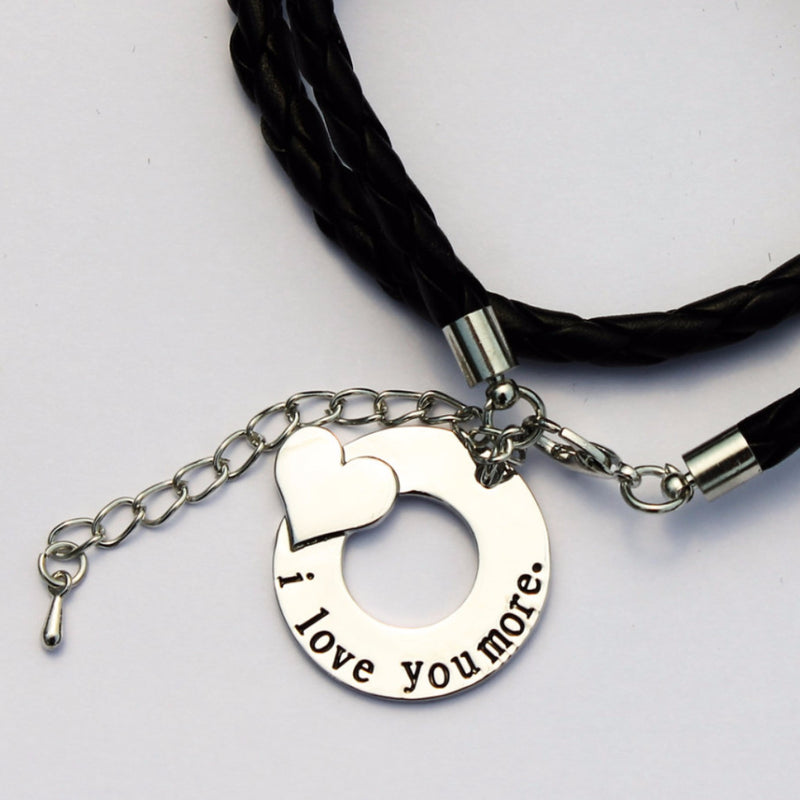"Black Leather "" i love you more"" Bracelet"