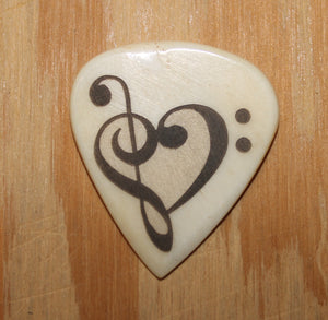 Music Note Heart Hand Crafted Guitar Pick