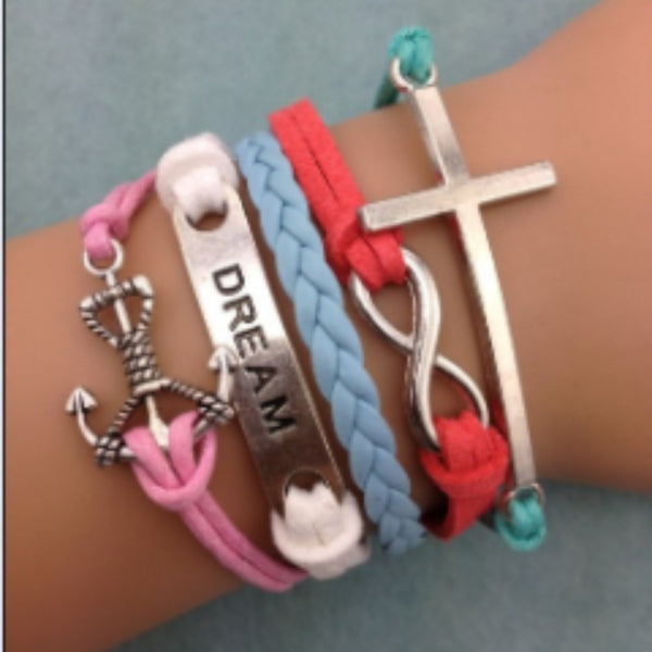 Multicolored Anchor, Dream, Infinity and Cross Bracelet