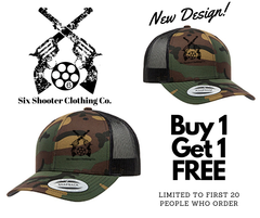 Six Shooter Camo Snapback Trucker Cap Hat - Patch
