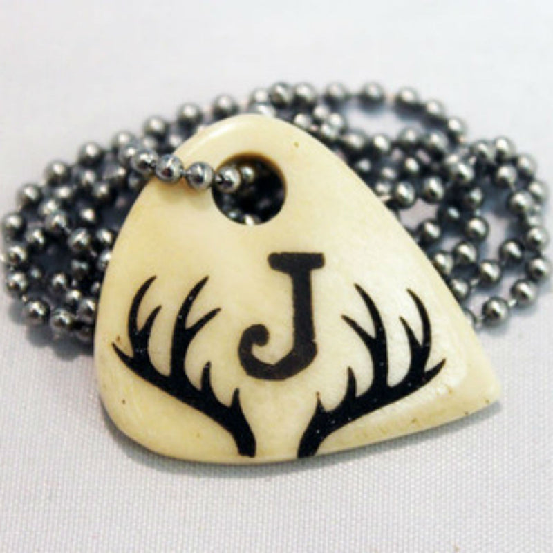 Her Buck His Doe Hand Crafted Engraved Cow Bone Guitar Necklaces