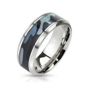 Blue Camouflage Stainless Steel Ring