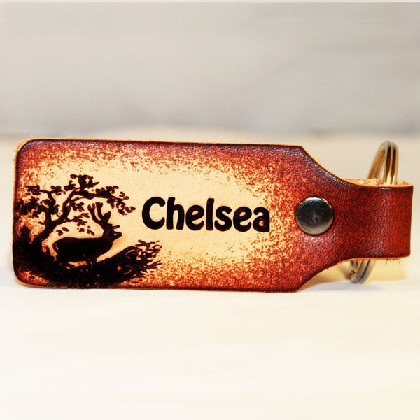 Buck Scenery with Custom Name Leather Keychain