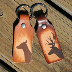Single Buck or Doe Leather Keychain