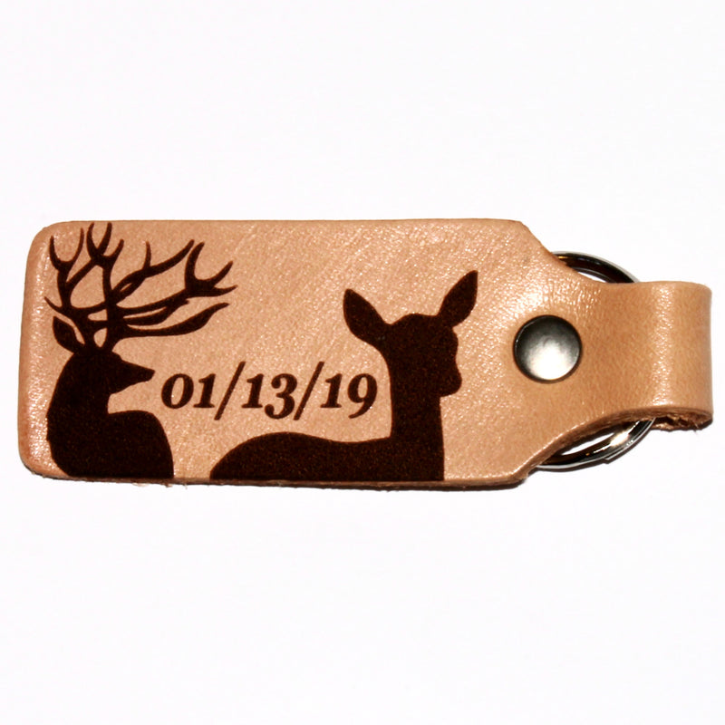 His Buck and Her Doe Personalized Custom Leather KeyChain