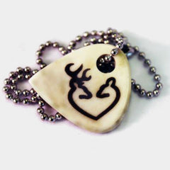Buck Doe Heart Hand Crafted Cow Bone Guitar Pick Necklace
