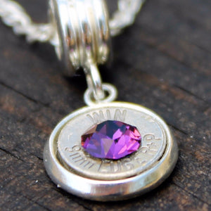 Amethyst 9mm Luger Bullet Necklace Closeup