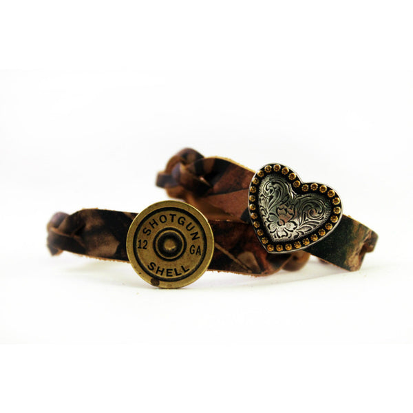 Camo Shell & Heart Leather Bracelet Pair