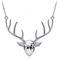 Crystal Pendant Antler Necklace
