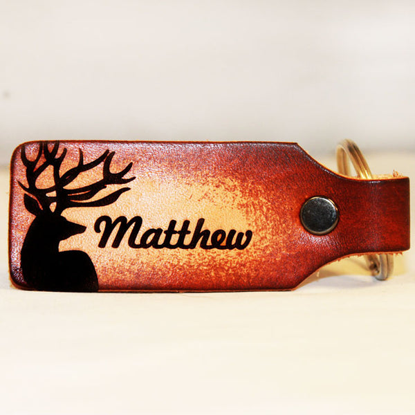 Confident Buck with Custom Name Leather Keychain