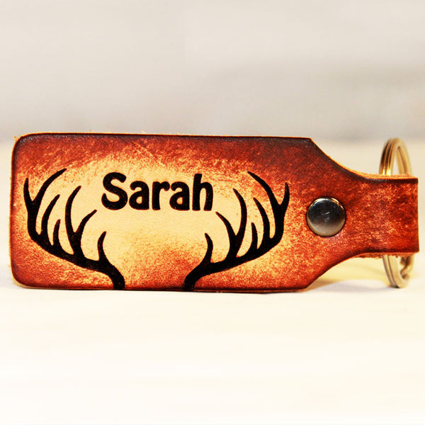 Antlers with Your Name Leather Keychain