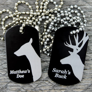 Customized Buck Doe Dog Tag Necklaces Both in Black