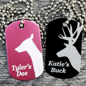 Customized Buck Doe Dog Tag Necklaces in Pink & Black