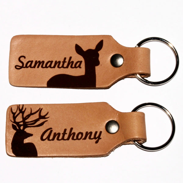 Customized Buck Doe Leather Keychains
