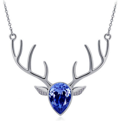 Dark Blue Pendant Antler Necklace
