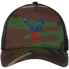 Six Shooter White Buck Snapback Trucker Camo Cap Hat