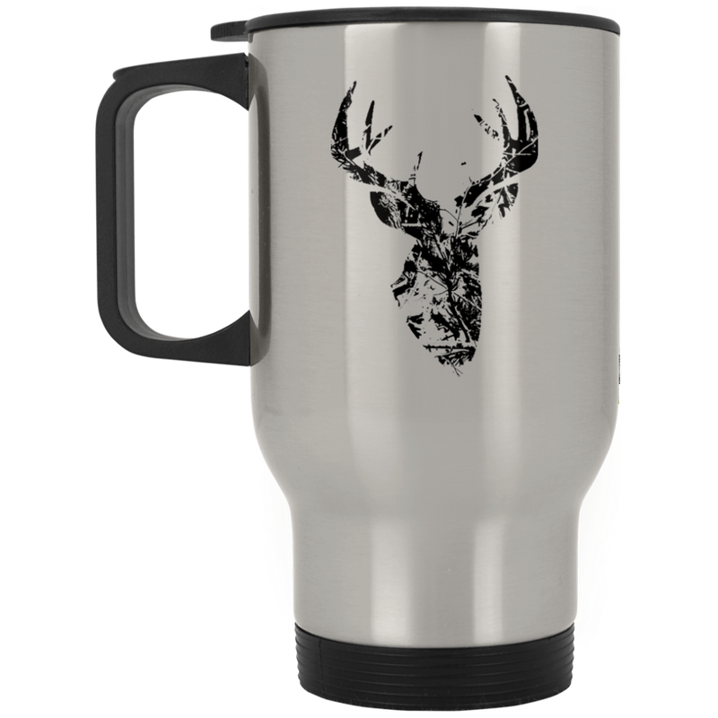 Camo Pattern Black Buck Travel Mug
