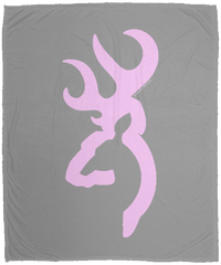 Large Pink Browning Buck Micro Fleece Blanket