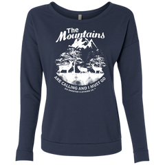 Women's Deer & Elk Mountains French Terry Scoop - White Graphic