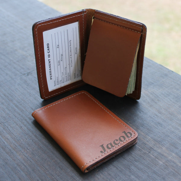 Custom Engraved Foldover Money Clip with Credit Card Holder
