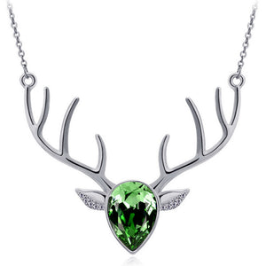 Green Pendant Antler Necklace