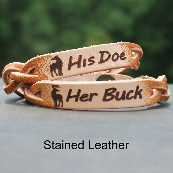 Her Buck His Doe Leather Bracelets