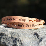 Boots and Wings Leather Bracelet