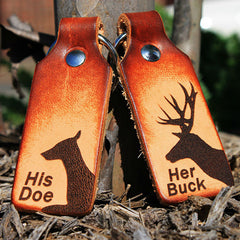 Her Buck & His Doe Custom Leather KeyChain Set