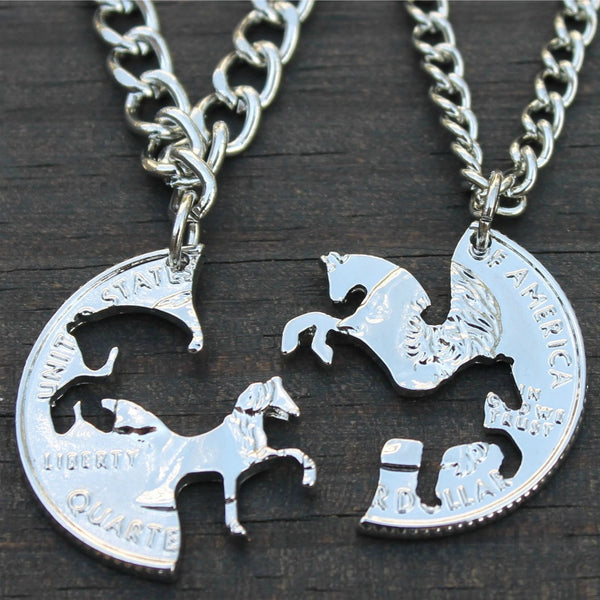 Interlocking Horses Coin Necklace