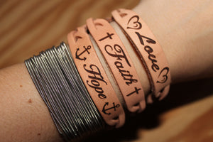 Faith Hope Love Two or Three Leather Bracelets