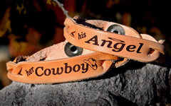 Her Cowboy, His Angel Leather Bracelets