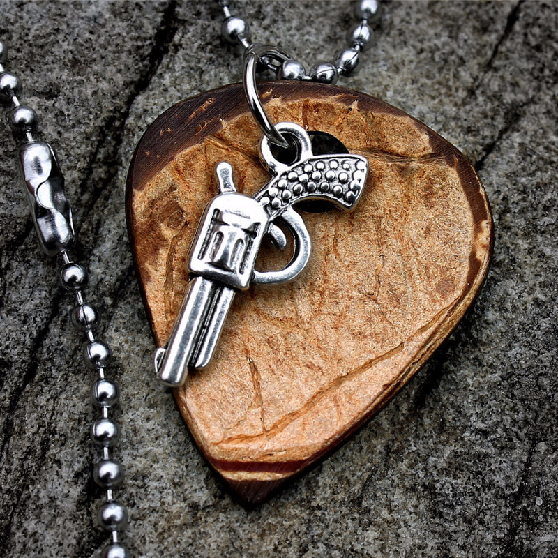 Six Shooter Hand Crafted Guitar Pick Necklace