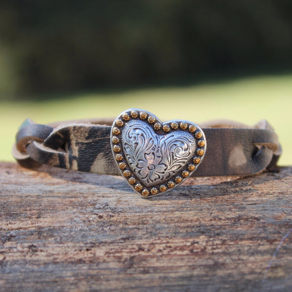 Braided Camo with Heart leather bracelet