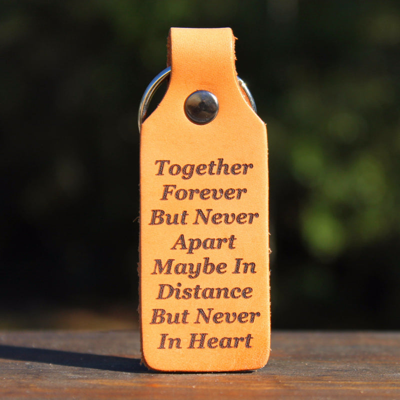 Together Forever But Never Apart Custom Leather KeyChain