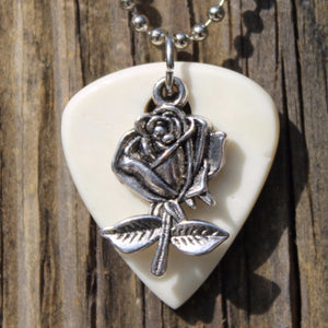 Rose Hand Crafted Guitar Pick Necklace