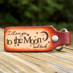 I Love You to the Moon and Back Custom Leather KeyChain
