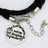 "Black Leather ""The love between a mother & daughter is forever"" Bracelet Closup"