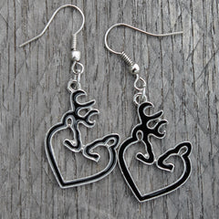 Black Snuggling Buck & Doe Earrings