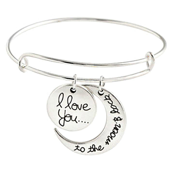 Silver Bangle with I Love You Charm