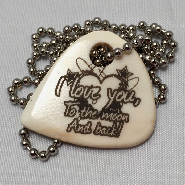 Moon and Back Guitar Pick Necklace