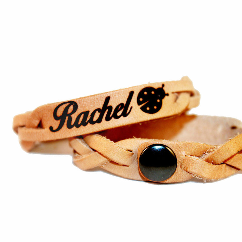Custom Ladybug Name Leather Bracelet