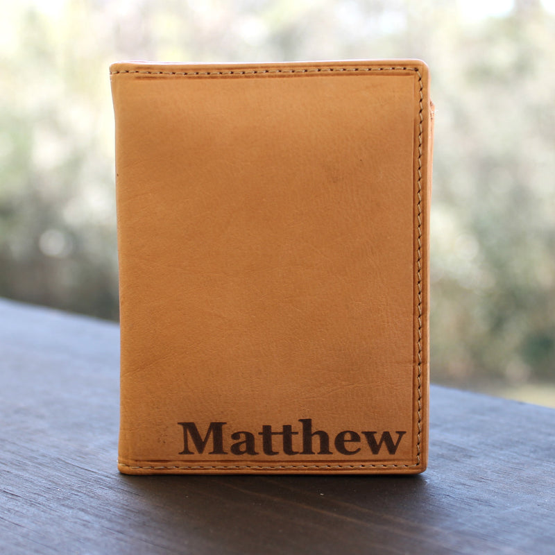 Custom Engraved Premium Leather Tri-Fold Wallet