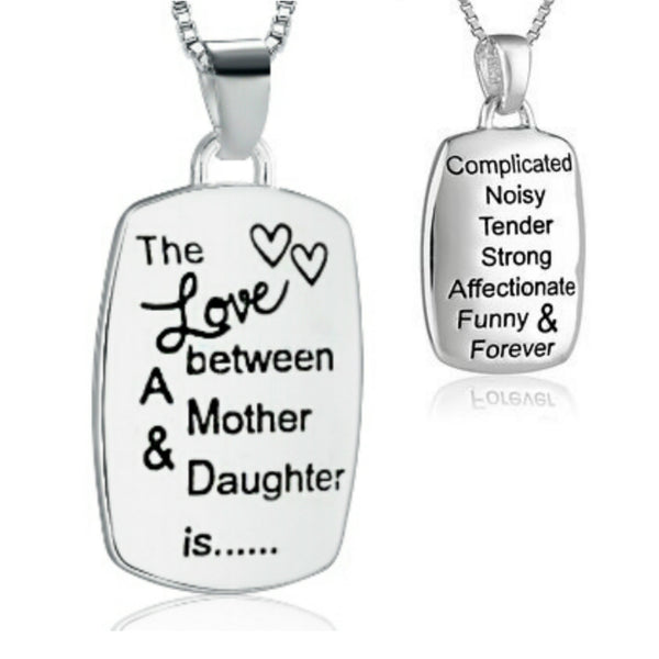 Mother/Daughter Engraved Rectangular Silver Necklace