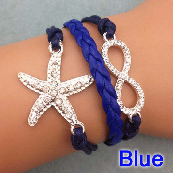 Navy Starfish Infinity Bracelet Six Shooter Gifts