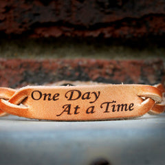 One Day At a Time Braided Leather Bracelet