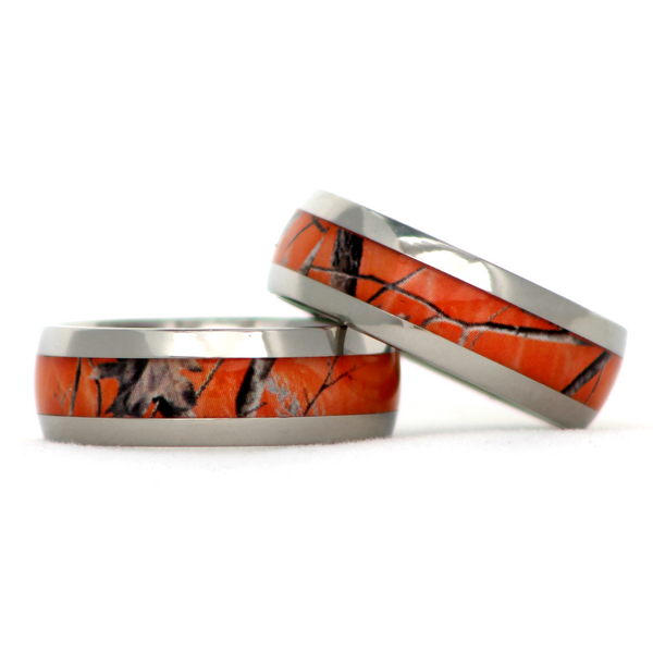 Realtree Blaze Orange Camo Titanium Ring