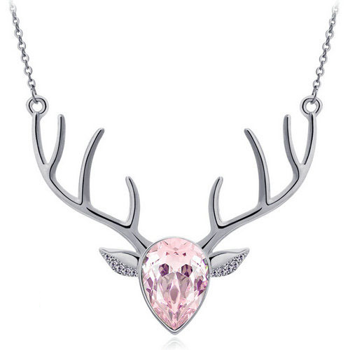 Pink Pendant Antler Necklace