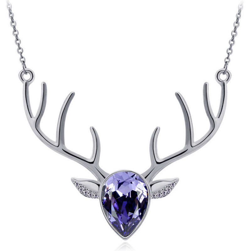 Purple Pendant Antler Necklace