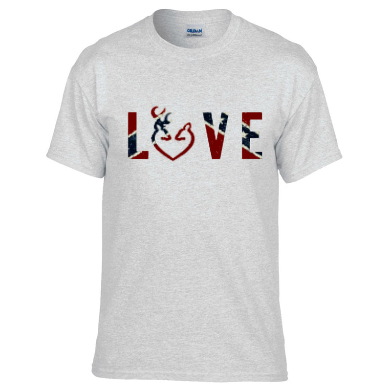 Rebel Flag LOVE Design Gray Short Sleeve T-Shirt
