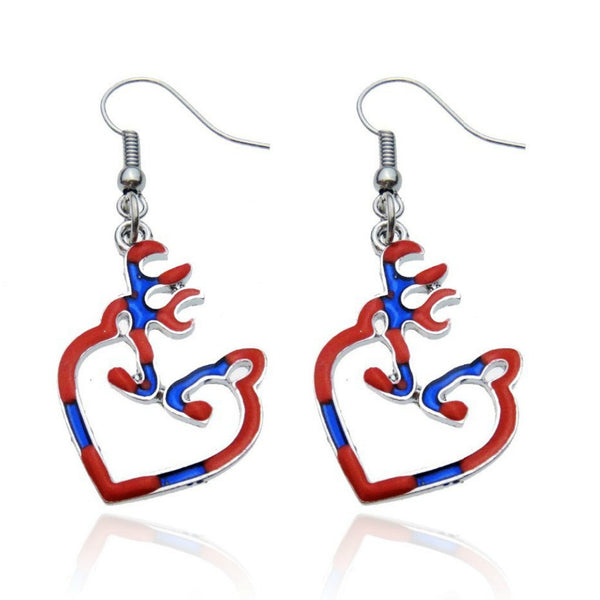 Buck Doe Red and Blue Heart Earrings